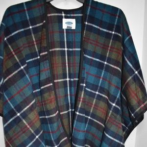 Old Navy M L Open Front Plaid Blanket Poncho